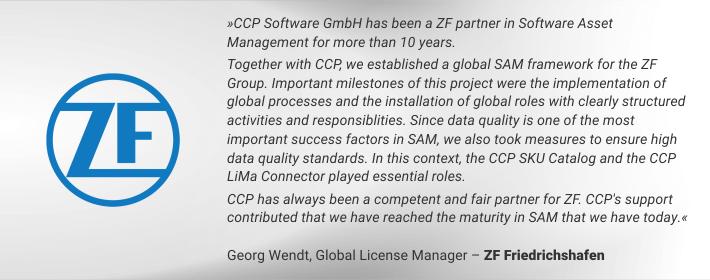 Georg Wendt, Global License Manager bei der ZF Friedrichshafen AG über den CCP LiMa Connector